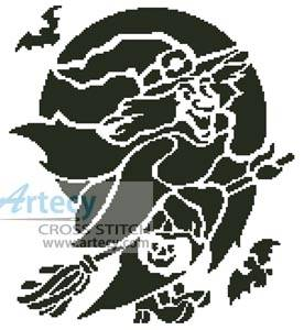 cross stitch pattern Witch Silhouette
