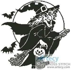 cross stitch pattern Witch Silhouette 2