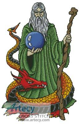 cross stitch pattern Wizard Dragon