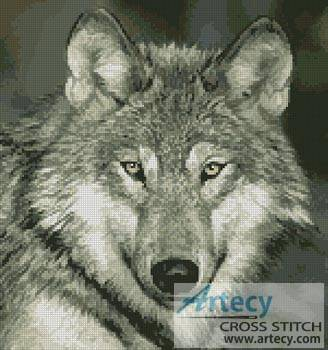 cross stitch pattern Wolf Close Up