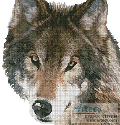 cross stitch pattern Wolf Face