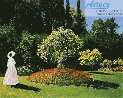 cross stitch pattern Woman in the Garden
