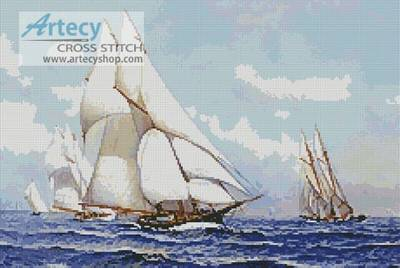 cross stitch pattern Yacht Race