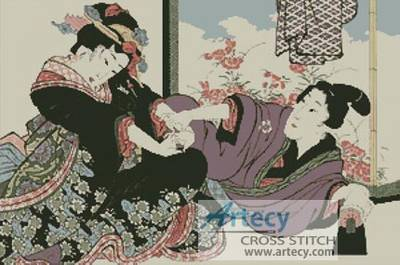 cross stitch pattern Young Man seducing a Geisha