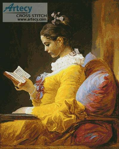 cross stitch pattern Young Girl Reading  Large