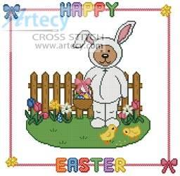 cross stitch pattern Easter Teddy Border 2