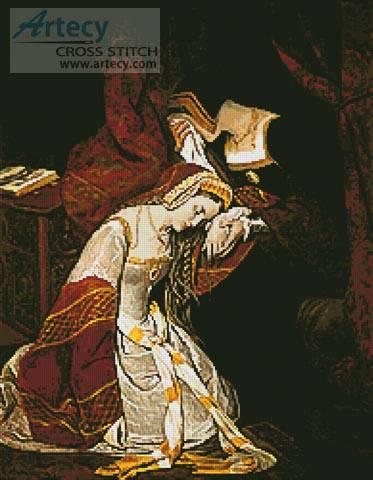 cross stitch pattern Anne Boleyn in the Tower