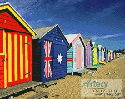 cross stitch pattern Bathing Boxes at Brighton Beach