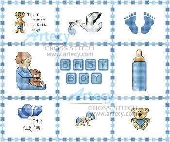 cross stitch pattern Baby Boy Sampler