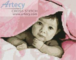 cross stitch pattern Mini Baby Face (Pink)