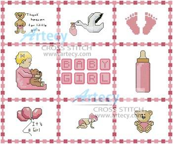 cross stitch pattern Baby Girl Sampler