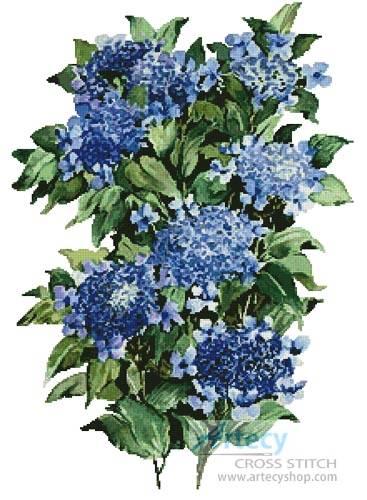 cross stitch pattern Blue Hydrangea