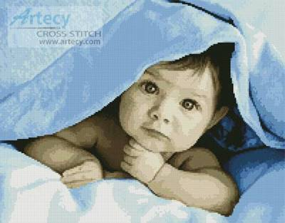 cross stitch pattern Baby Face (Blue)