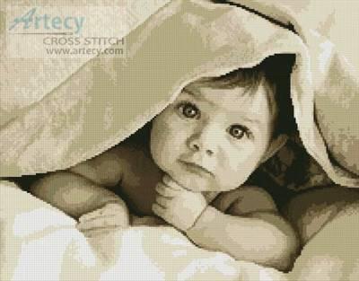 cross stitch pattern Baby Face (Sepia)