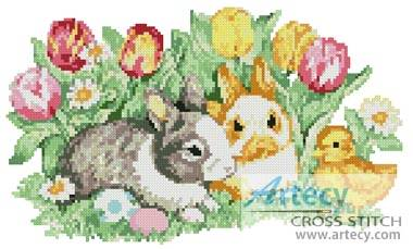 cross stitch pattern Cute Easter Bunnies