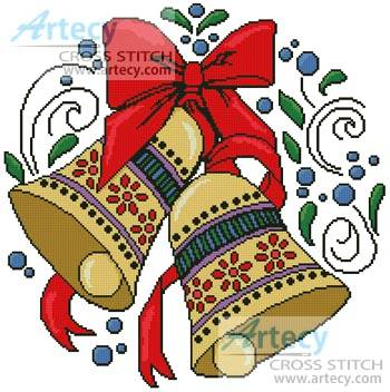 cross stitch pattern Christmas Bells 2