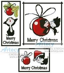 cross stitch pattern Christmas Kitty