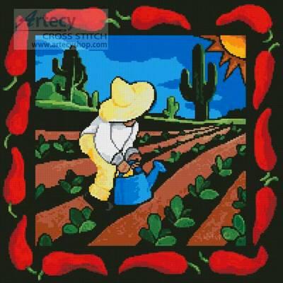 cross stitch pattern Chili Pepper Tile