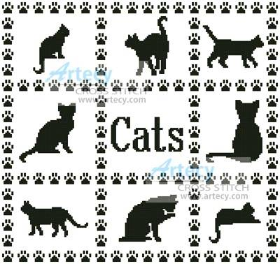 cross stitch pattern Cat Sampler