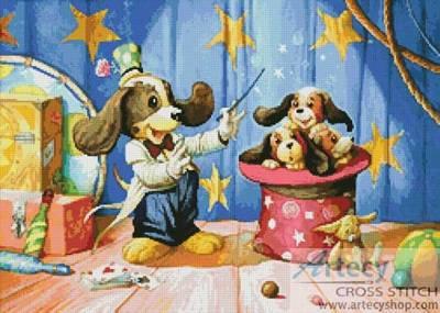 cross stitch pattern Dog Magician