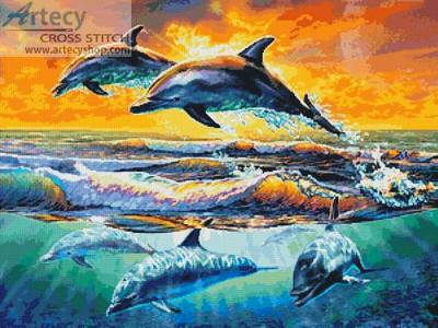 cross stitch pattern Dolphins at Dawn