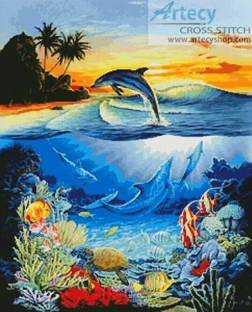 Dolphin Lagoon Cross Stitch Pattern Dolphin