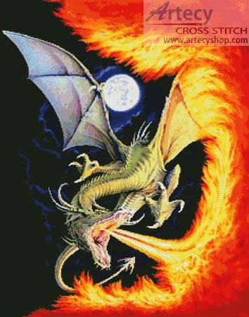 cross stitch pattern Dragon Fire