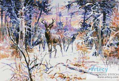 cross stitch pattern Deer in a Snowy Forest