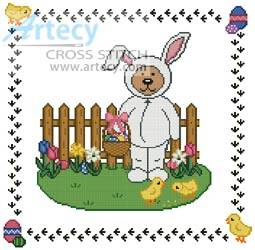 cross stitch pattern Easter Teddy Border 1
