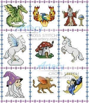 cross stitch pattern Fantasy Sampler