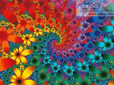 cross stitch pattern Fractal Flowers