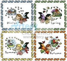 cross stitch pattern Fairy Season Sampler