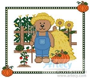 cross stitch pattern Farm Teddy Border 1