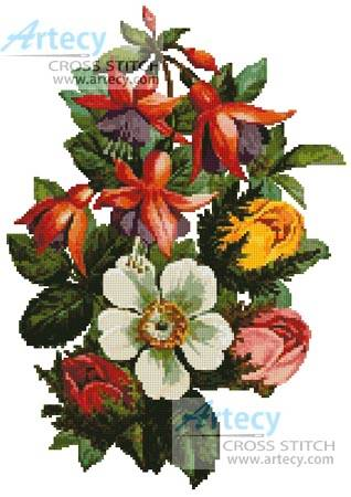 cross stitch pattern Fuschia and Roses