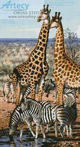 cross stitch pattern Giraffe and Zebra