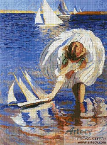cross stitch pattern Girl with a Sailboat