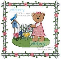 cross stitch pattern Garden Teddy Border 1