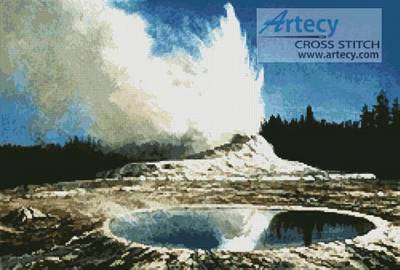 cross stitch pattern Geyser, Yellowstone Park
