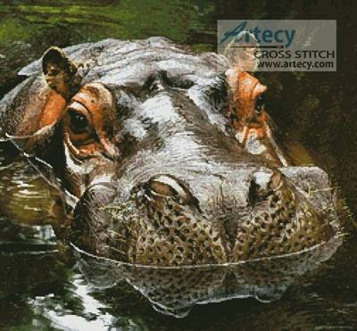 cross stitch pattern Hippo Reflection