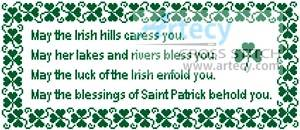 cross stitch pattern Irish Blessing