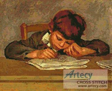 cross stitch pattern Jean Renoir Writing