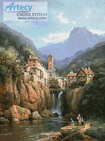 cross stitch pattern Vue de Kanderstein, Tyrol