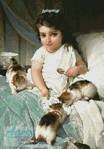 cross stitch pattern Kittens and Girl
