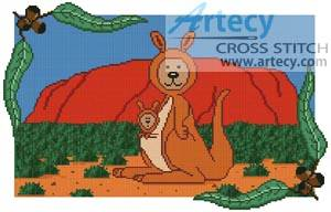 cross stitch pattern Kangaroo Teddy Border 1