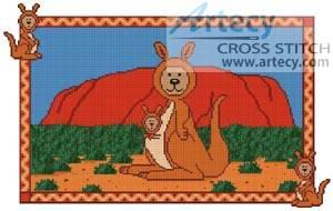 cross stitch pattern Kangaroo Teddy Border 2