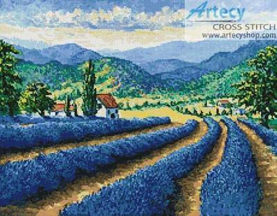 cross stitch pattern Lavender Field