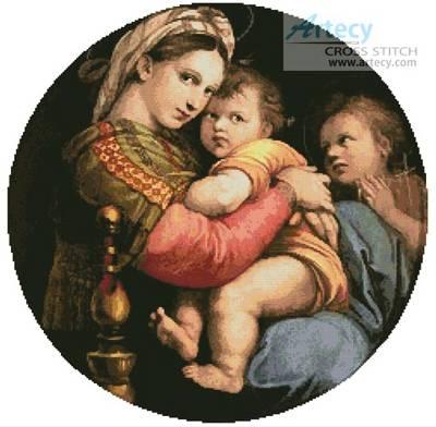 cross stitch pattern Madonna Della Seggiola
