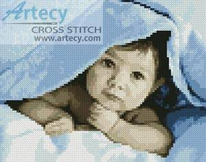 cross stitch pattern Mini Baby Face (Blue)