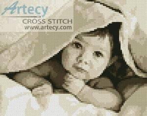 cross stitch pattern Mini Baby Face (Sepia)