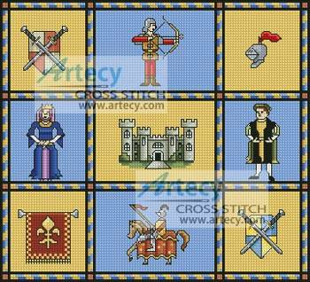 cross stitch pattern Medieval Sampler